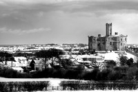 Warkworth under snow, Northumberland (mono)