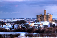 Warkworth under snow, Northumberland (colour)